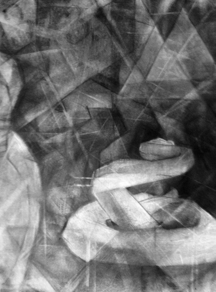 cubist still life. charcoal on paper 18 x 24
